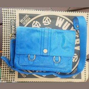 Anthropologie Blue Leather Daily Brights Satchel